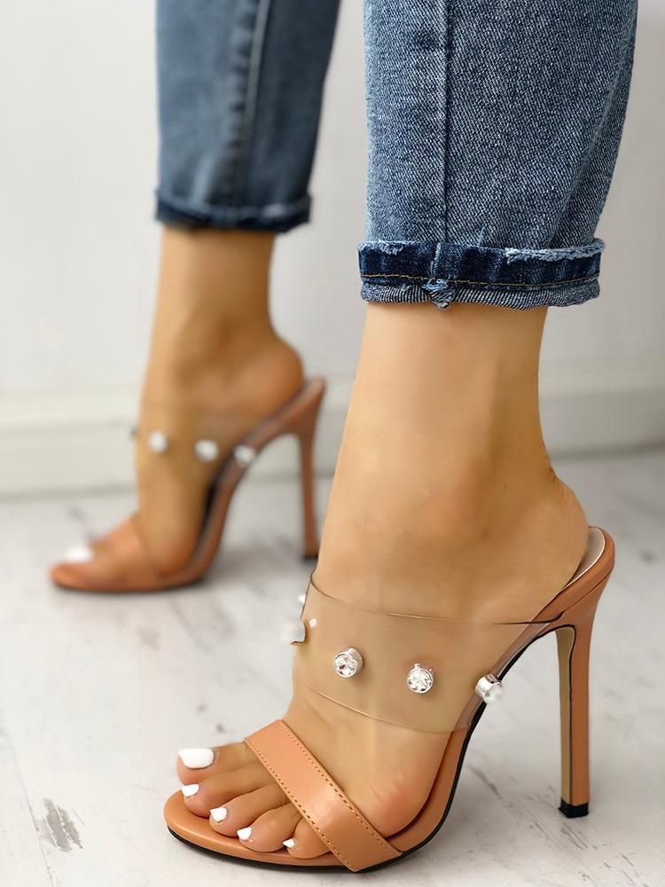 boutiquefeel / Shiny Embellished Transparent Thin Heeled Sandals