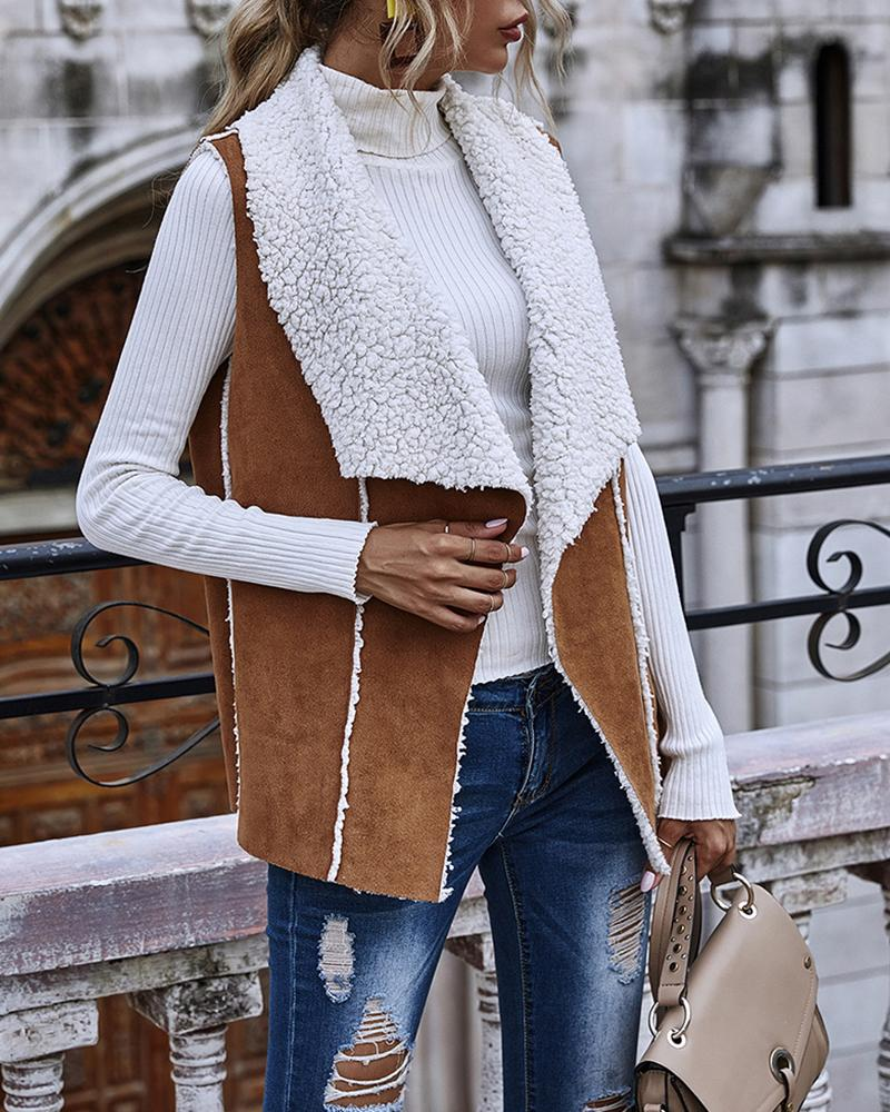 Colorblock Suede Casual Sleeveless Coat thumbnail