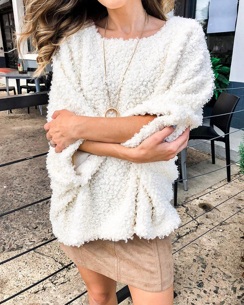Fluffy Long Sleeve Loose Casual Sweater thumbnail