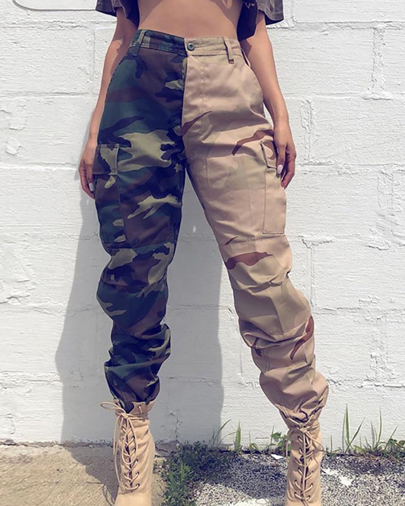 Camouflage Colorblock Pocket Design Cargo Pants thumbnail