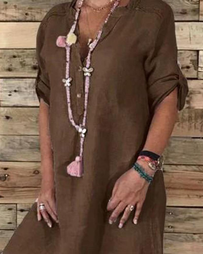 Linen Cotton Casual Midi Dress thumbnail