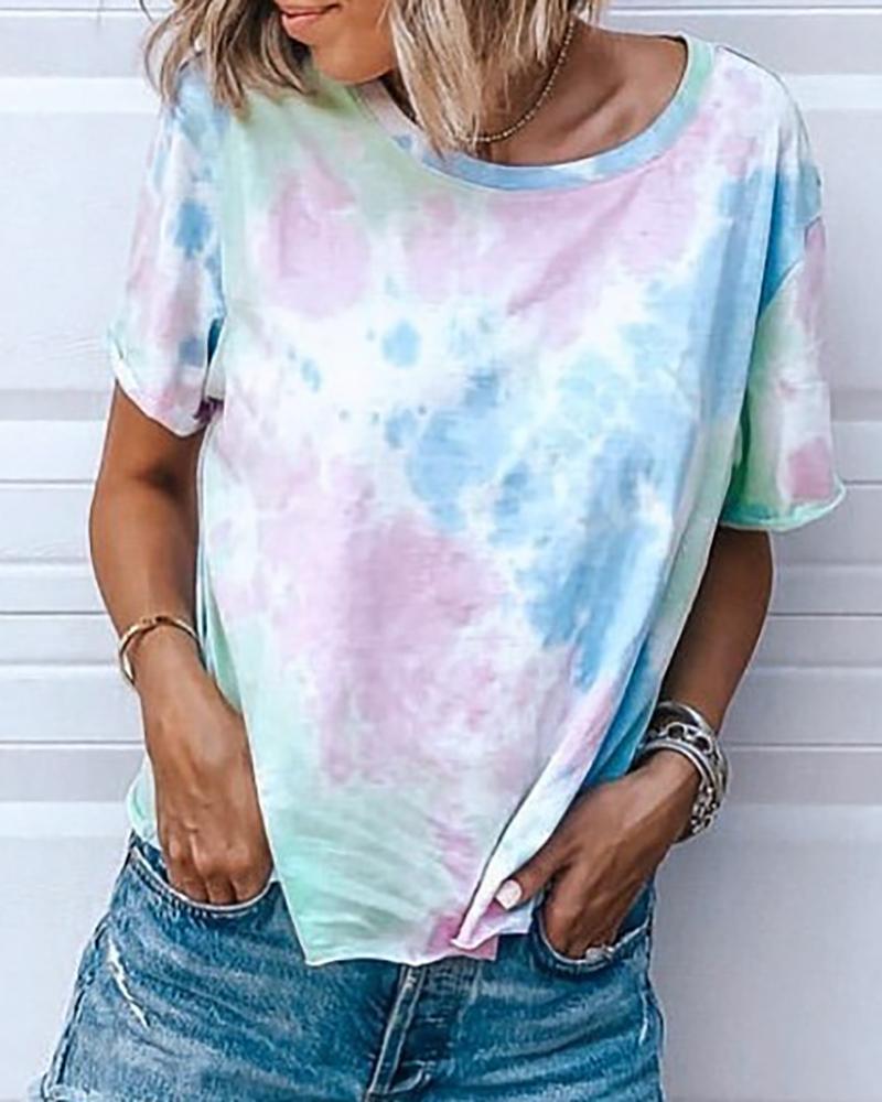 Tie Dye Print Round Neck T-shirt thumbnail