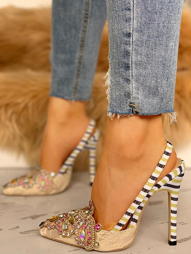 boutiquefeel / Rhinestone Embellished Striped Lace Insert Thin Heels