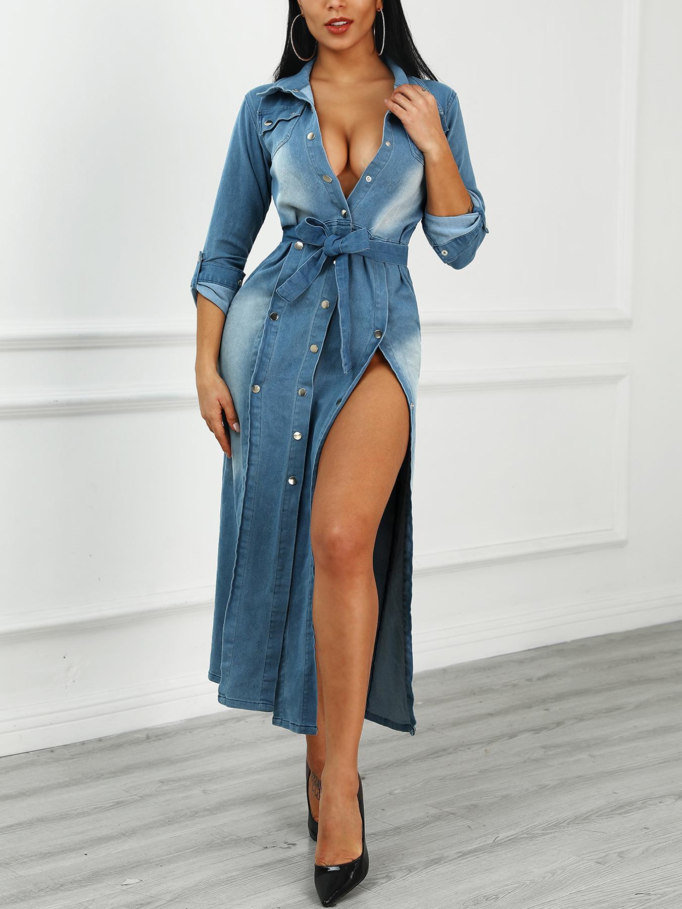 Long Sleeve Belted Denim Shirt Dress