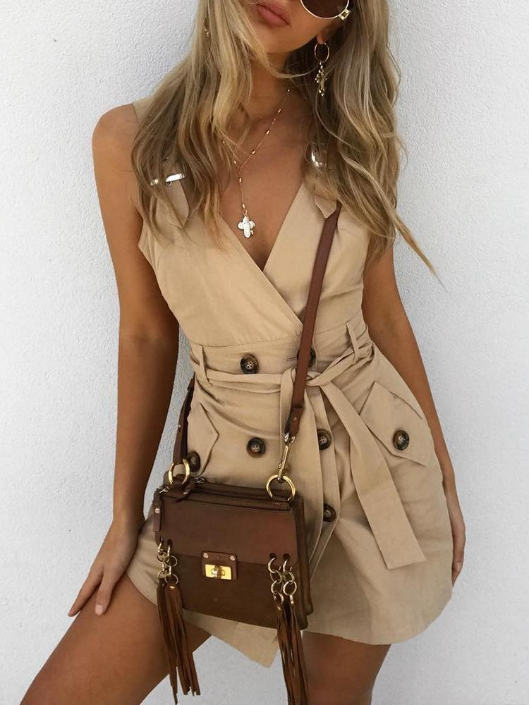 d7ba4cd083037 Double-Breasted Sleeveless Belted Casual Dress