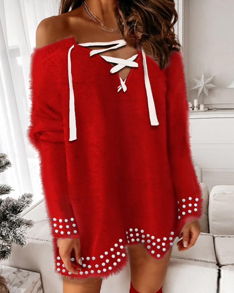 Fluffy Lace-up Studded Long Sleeve Knit Dress