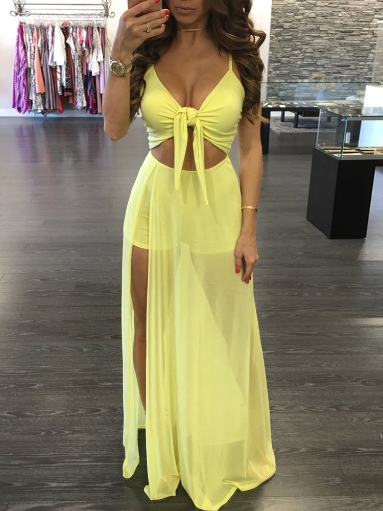 7eaa7242ec12 Trendy Twisted High Slit Maxi Romper Dress Online. Discover hottest ...