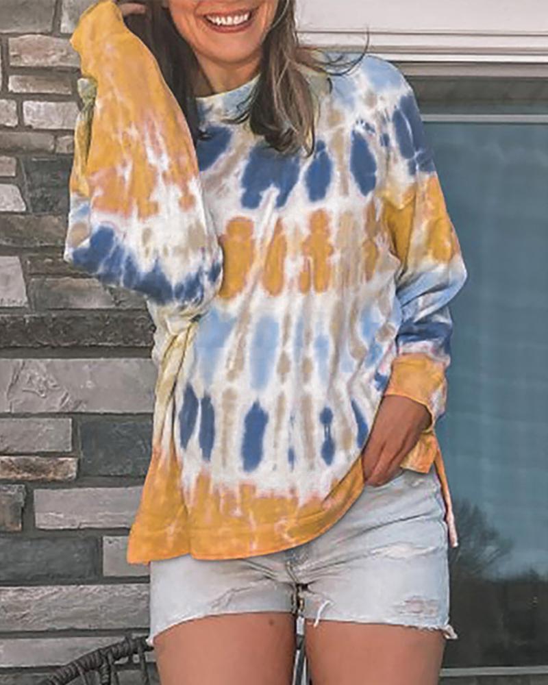 Tie Dye Print Colorblock Casual Sweatshirt