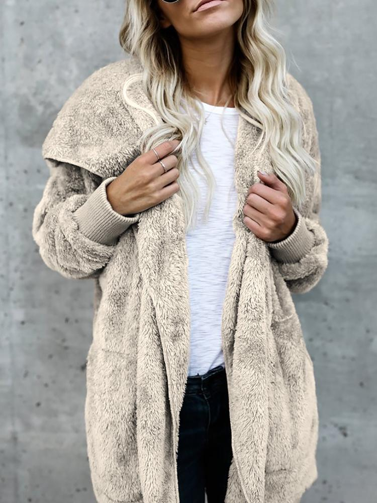 Joyshoetique coupon: Warm Solid Pocket Design Hoodies Fluffy Oversized Jacket