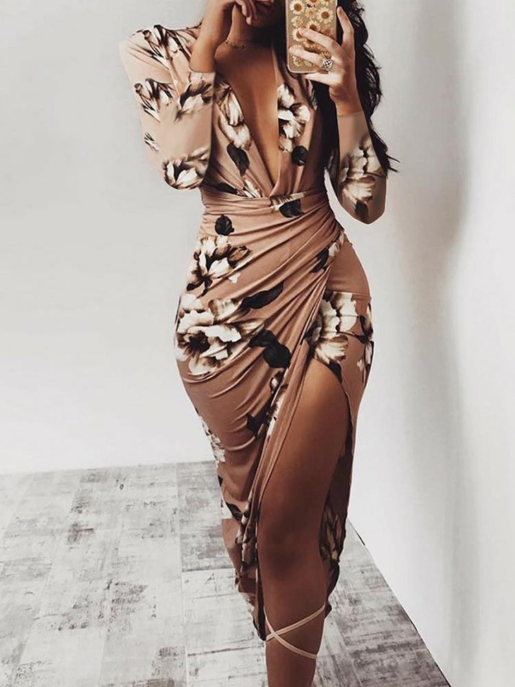 Floral Deep V Long Sleeve Ruched Bodycon Dress