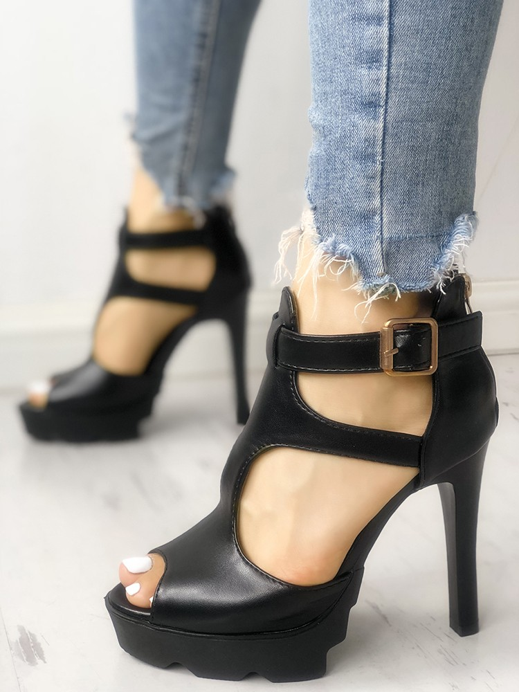boutiquefeel / Solid Peep Toe Cutout Buckled Thin Heels