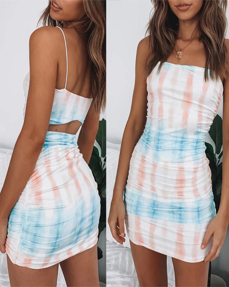 Tie Dye Print Ruched Cutout Back Dress thumbnail