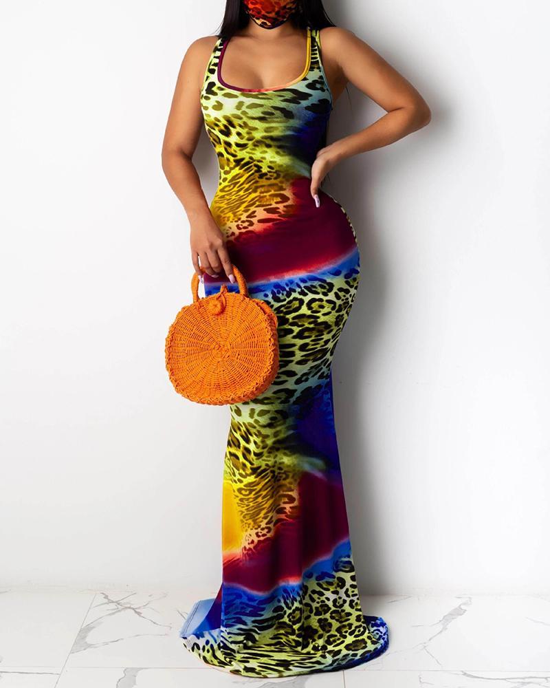 Cheetah Tie Dye Print Mermaid Sleeveless Maxi Dress thumbnail
