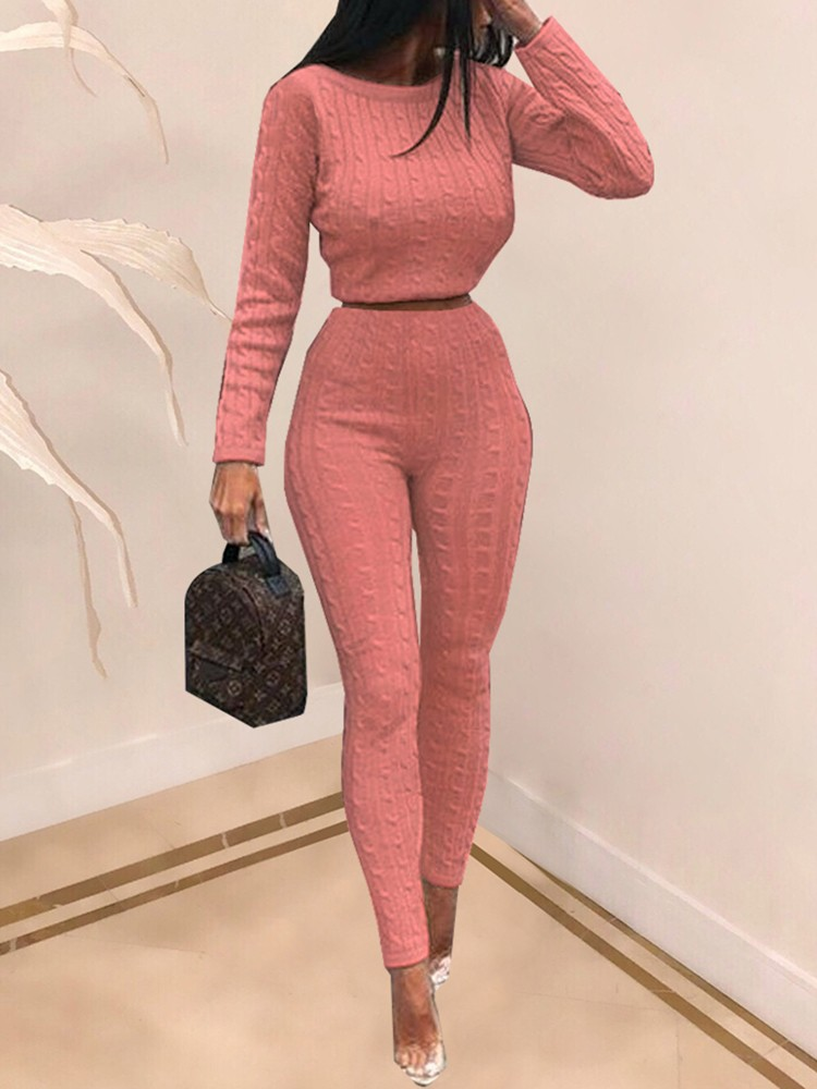 boutiquefeel / Long Sleeve Knit Pullover Sweater & Pants Sets