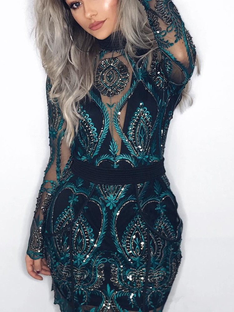 Premium Open Back Sequins Cocktail Party Dress