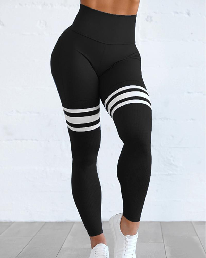 Solid Color Splicing Striped Skinny Yoga Pants