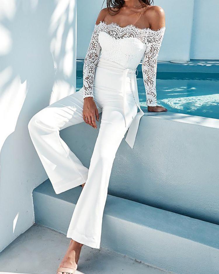 924b2177511b White Elegant Lace Sleeve Eyelash Wide Leg Jumpsuit Pantsuit Romper Online.  Discover hottest trend fashion at chicme.com