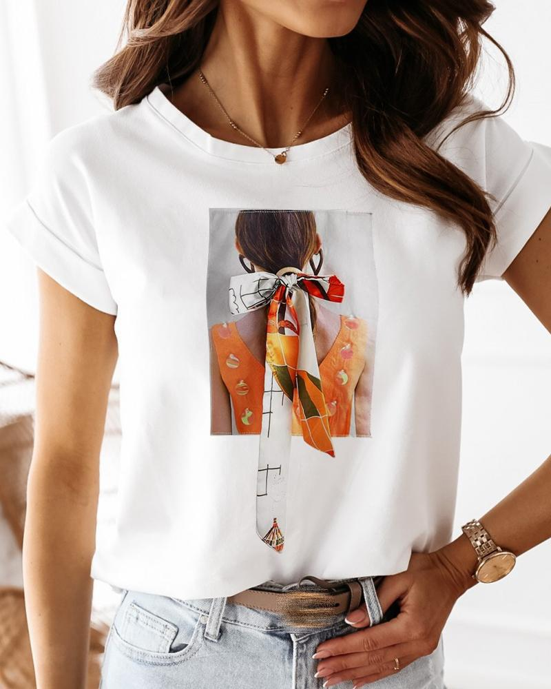 Figure Print Tied Detail Casual T-shirt thumbnail