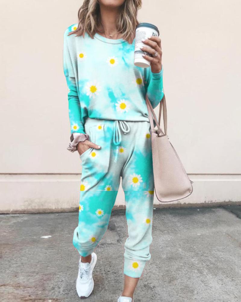 Tie Dye Daisy Print Top & Drawstring Pants Set thumbnail