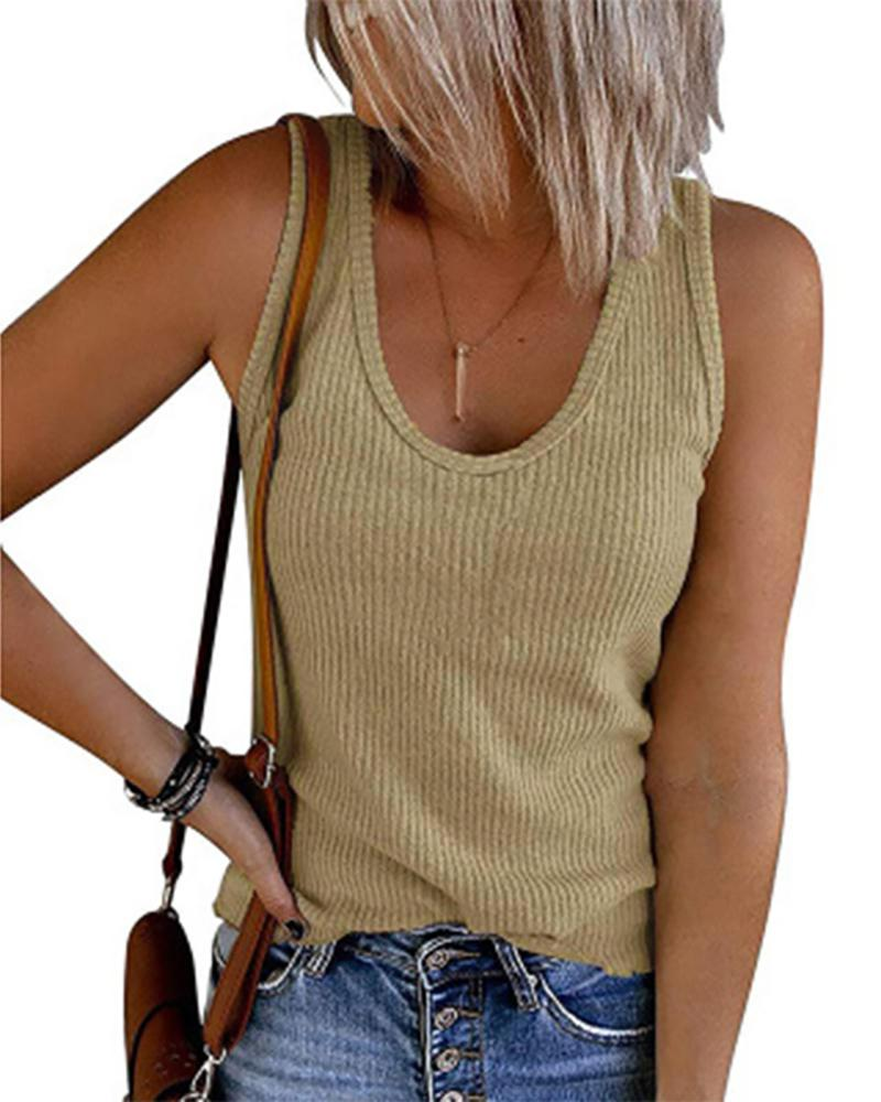 Thick Strap Plain U-Neck Casual Basic Top, boutiquefeel, khaki  - buy with discount