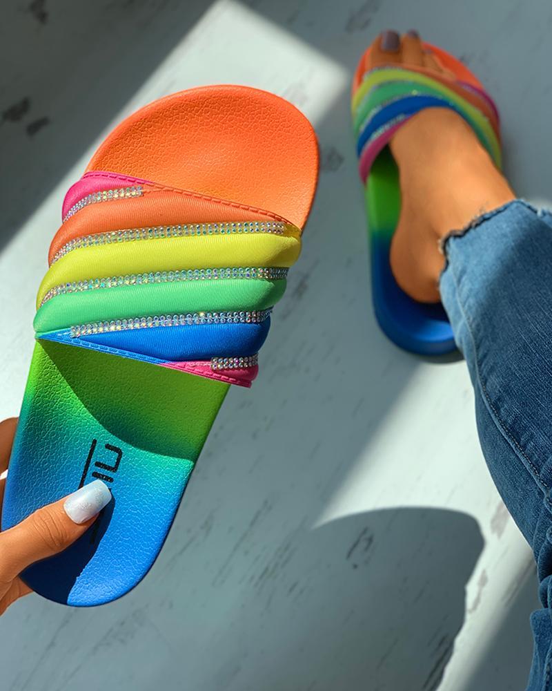 Colorblock Rhinestone Slider Sandals thumbnail