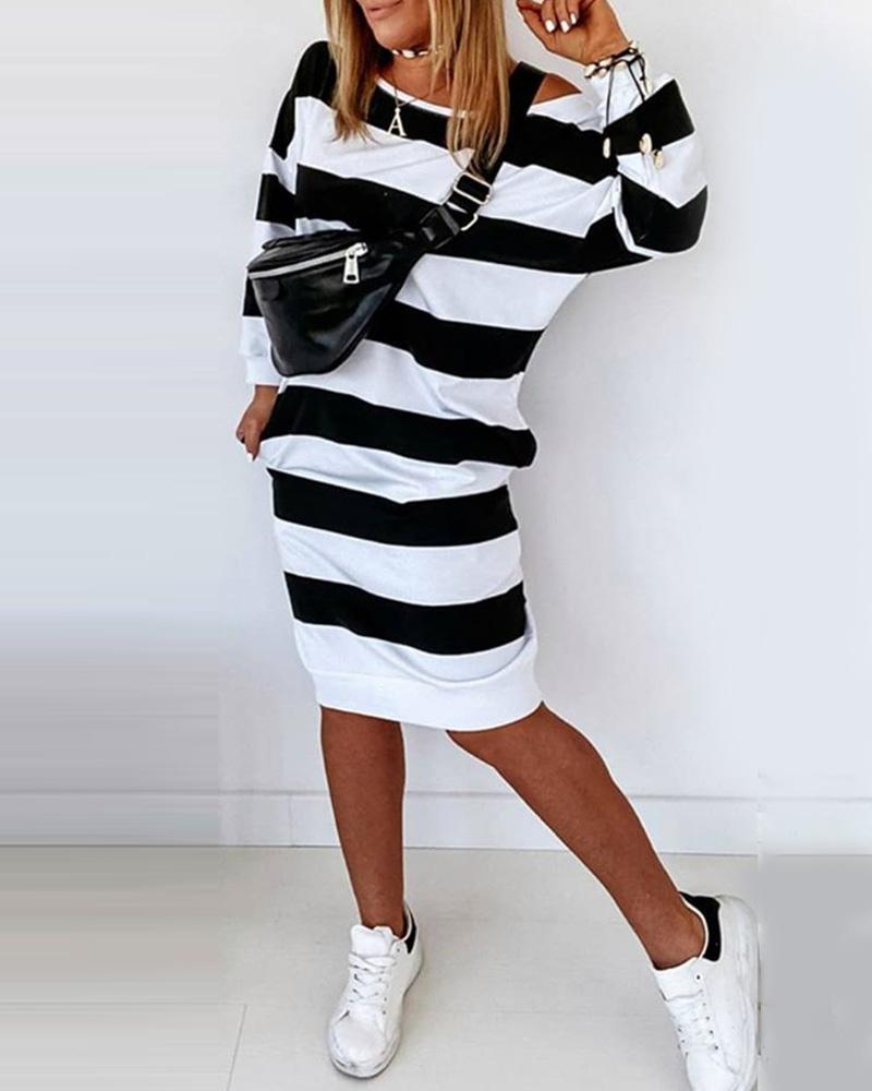 Striped Colorblock Casual Midi Dress thumbnail