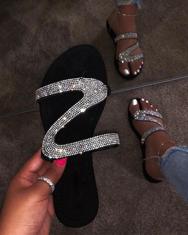 Diamond Strap Embellished Sandals thumbnail