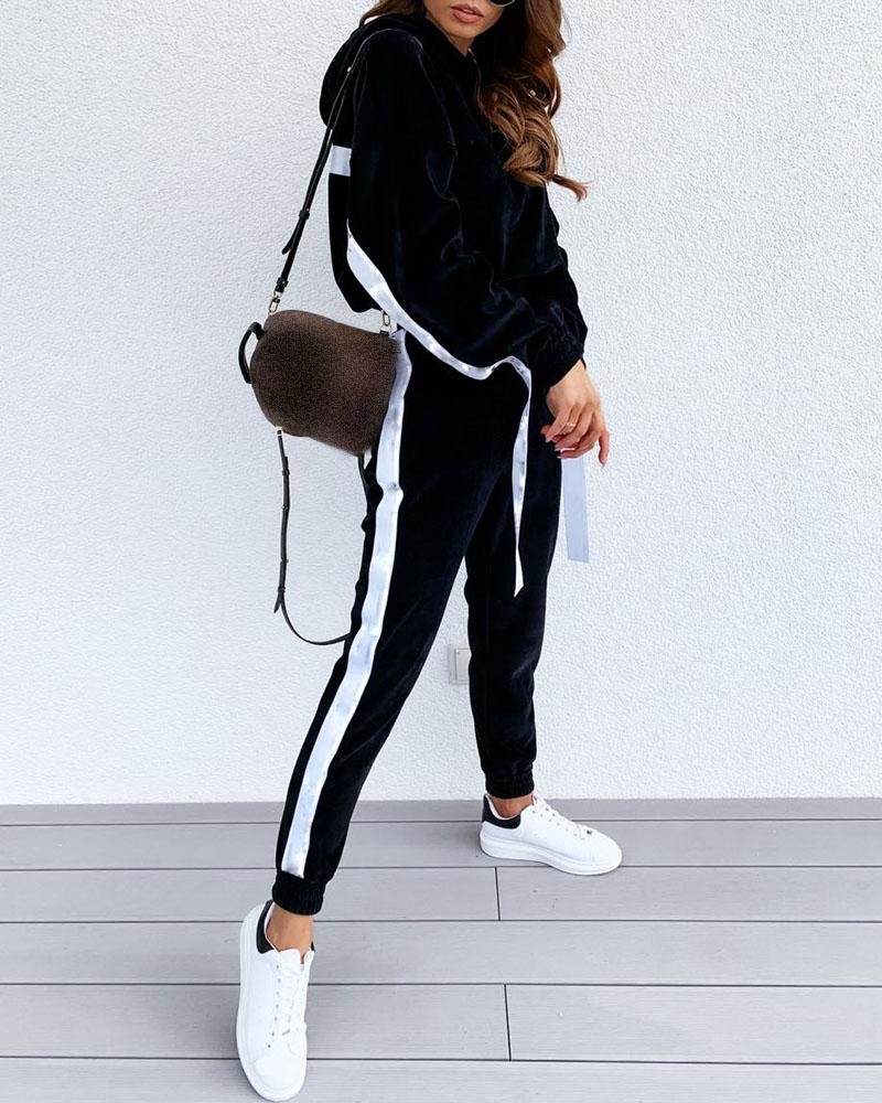 Striped Tape Colorblock Hooded Top & Pocket Design Pants Set thumbnail