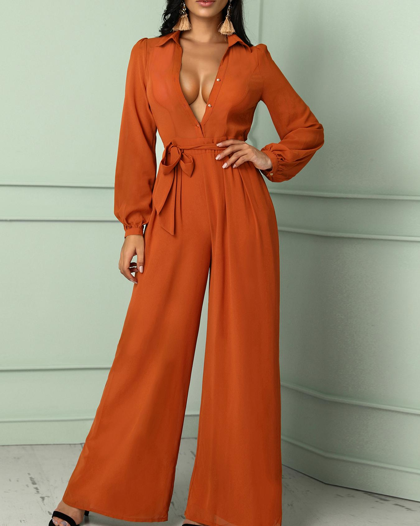 f68028fa143 Solid Long Sleeve Belted Wide Leg Jumpsuit Online. Discover hottest trend  fashion at chicme.com