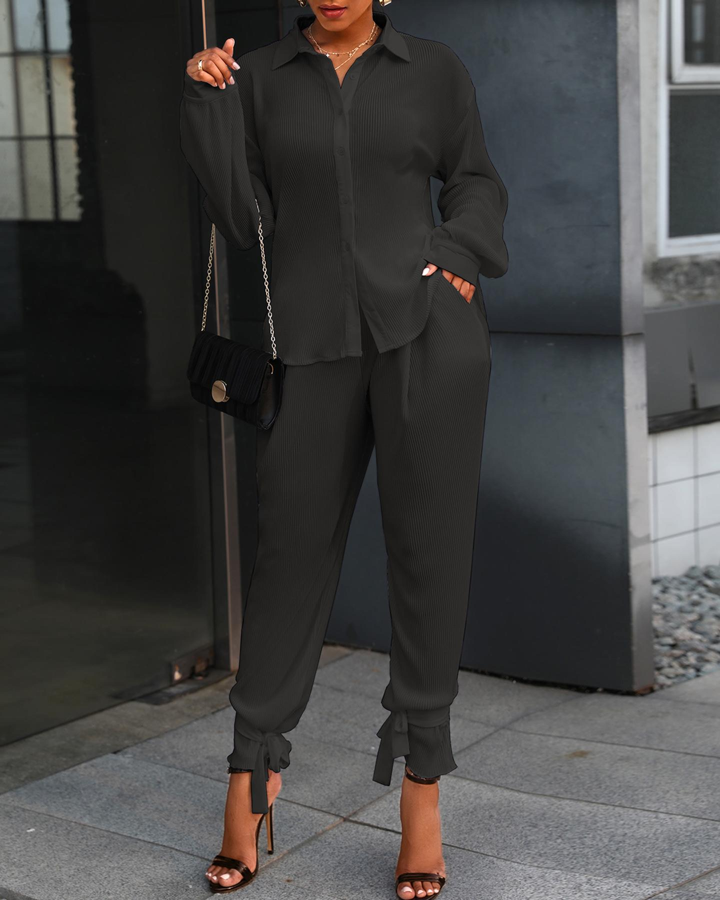 Buttoned Long Sleeve Ruched Top & Pockets Pants Set thumbnail