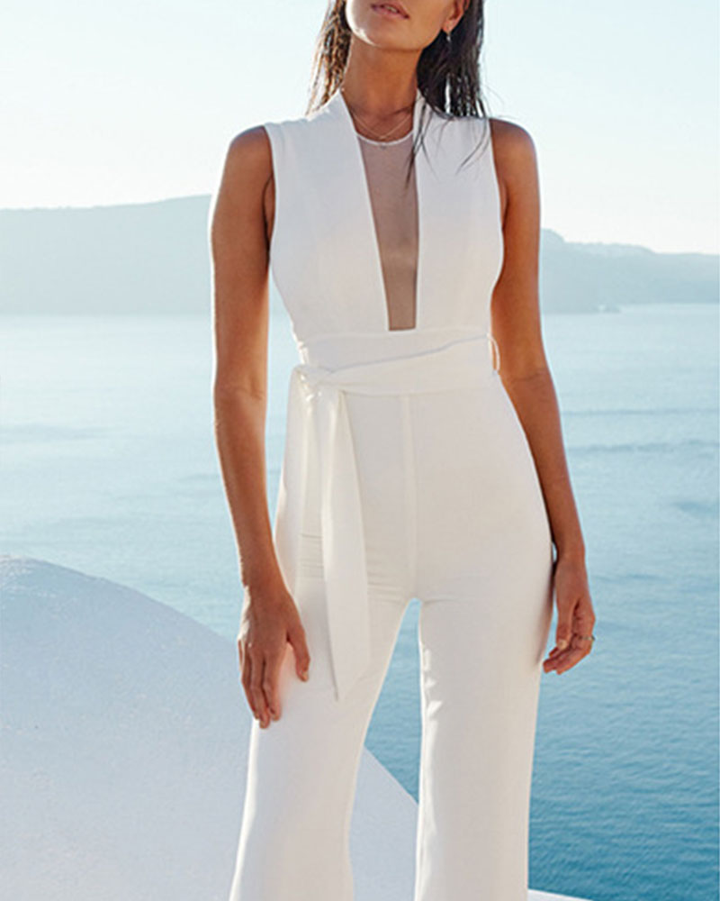 Solid Sleeveless Mesh Patchwork Lace-up Flared Leg Jumpsuit