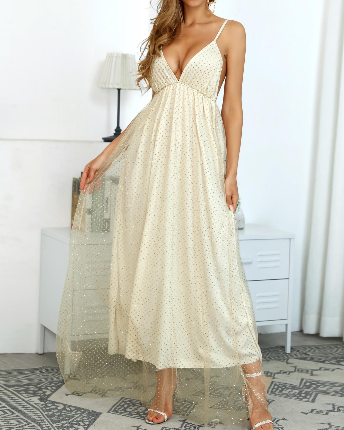 8ce794de Glitter Spaghetti Strap Mesh Overlay Gowns Dress