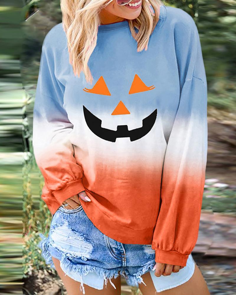 Halloween Pumpkin Bat Print Gradient Color Top thumbnail