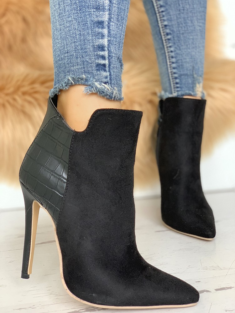 Snakeskin & Suede Pointed Toe Ankle Boots