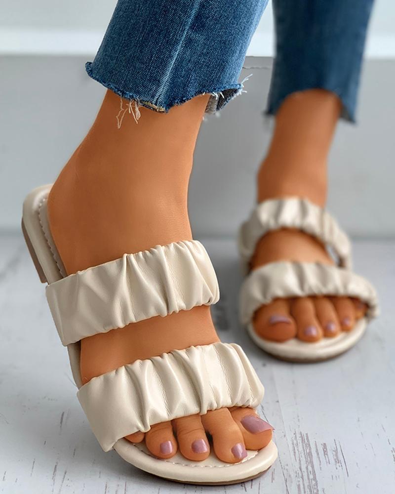 Open Toe Ruched Detail Flat Slider Sandals thumbnail