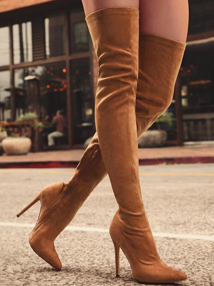 Joyshoetique coupon: Knee-High Pointed Toe Heels Red Boots - Brown