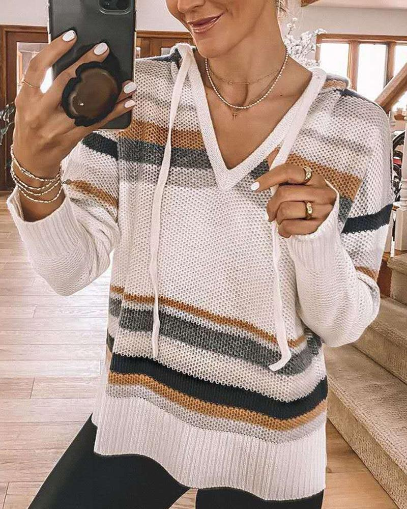 Hooded Stitching Long Sleeve Sweater thumbnail