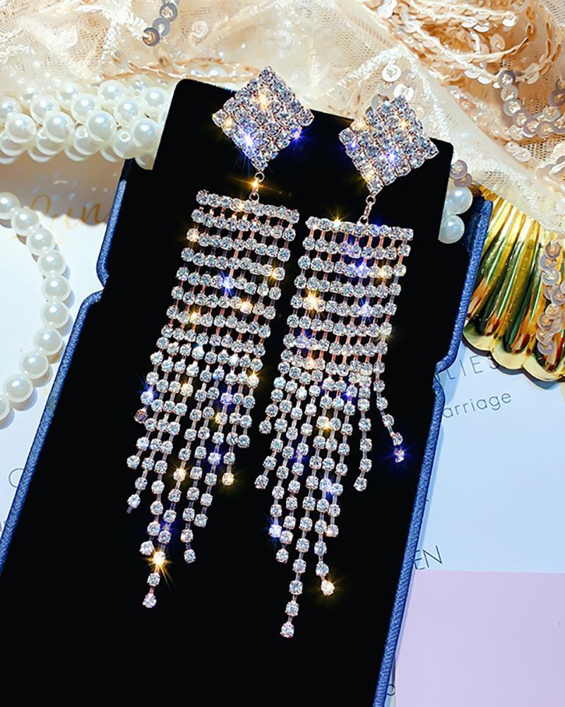 Studded Glitter Tassel Dangle Earring thumbnail