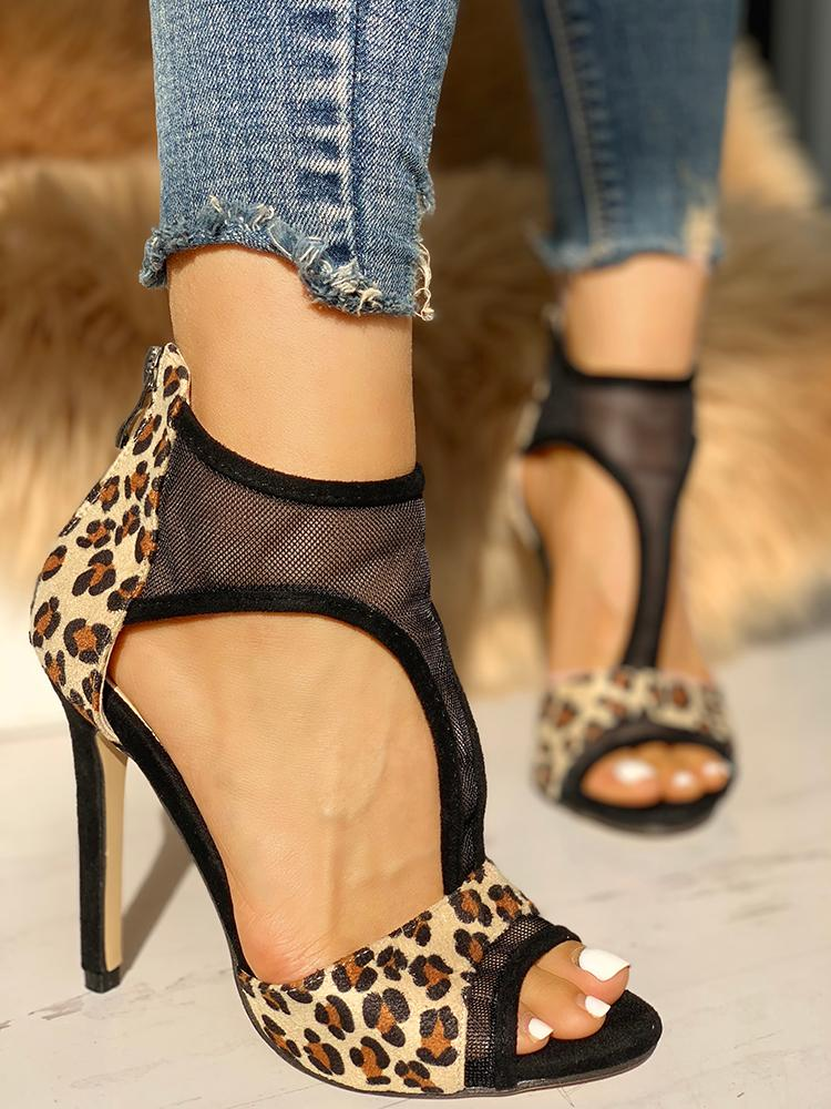 boutiquefeel / Mesh Insert Leopard Cut Out Thin Heeled Sandals
