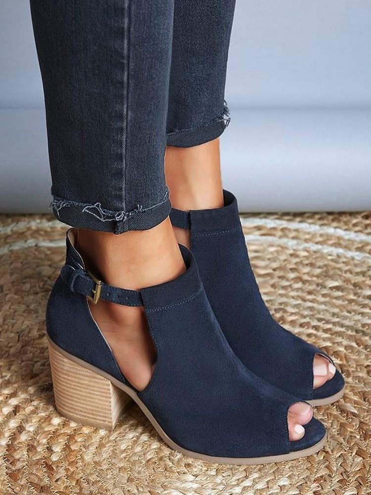 boutiquefeel / Side Cutout Open Toe Block Buckle Heels Sandals