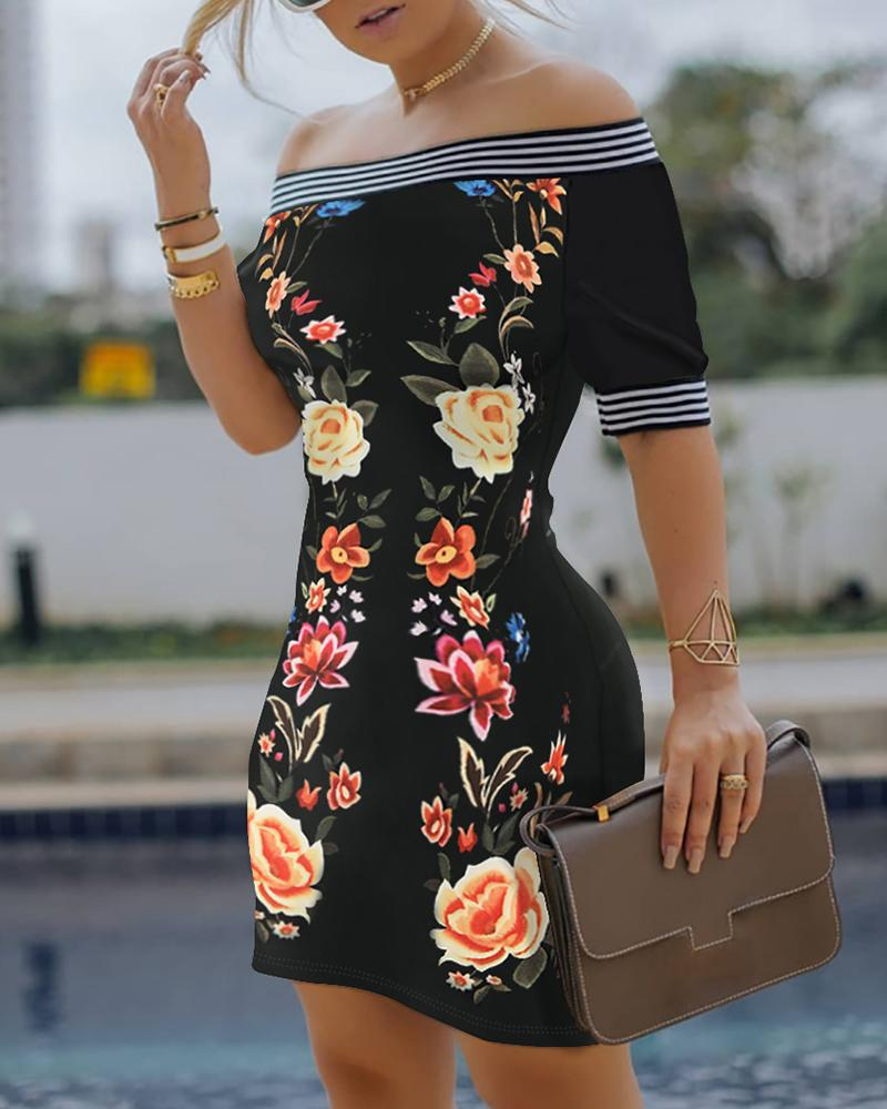 Off Shoulder Floral Print Striped Dress thumbnail