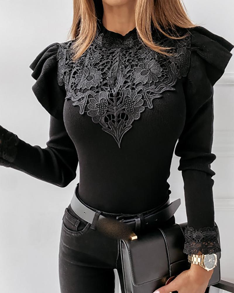 Crochet Lace Ruffles Trim Long Sleeve Sweater