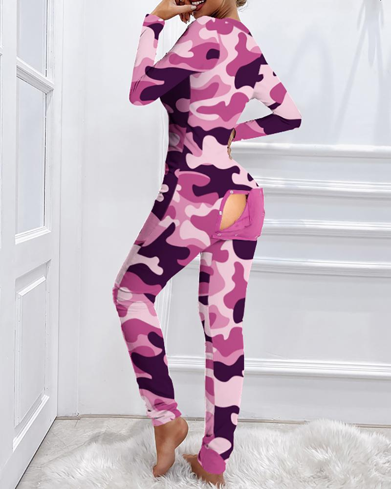 Camouflage Functional Buttoned Flap Adults Pajamas