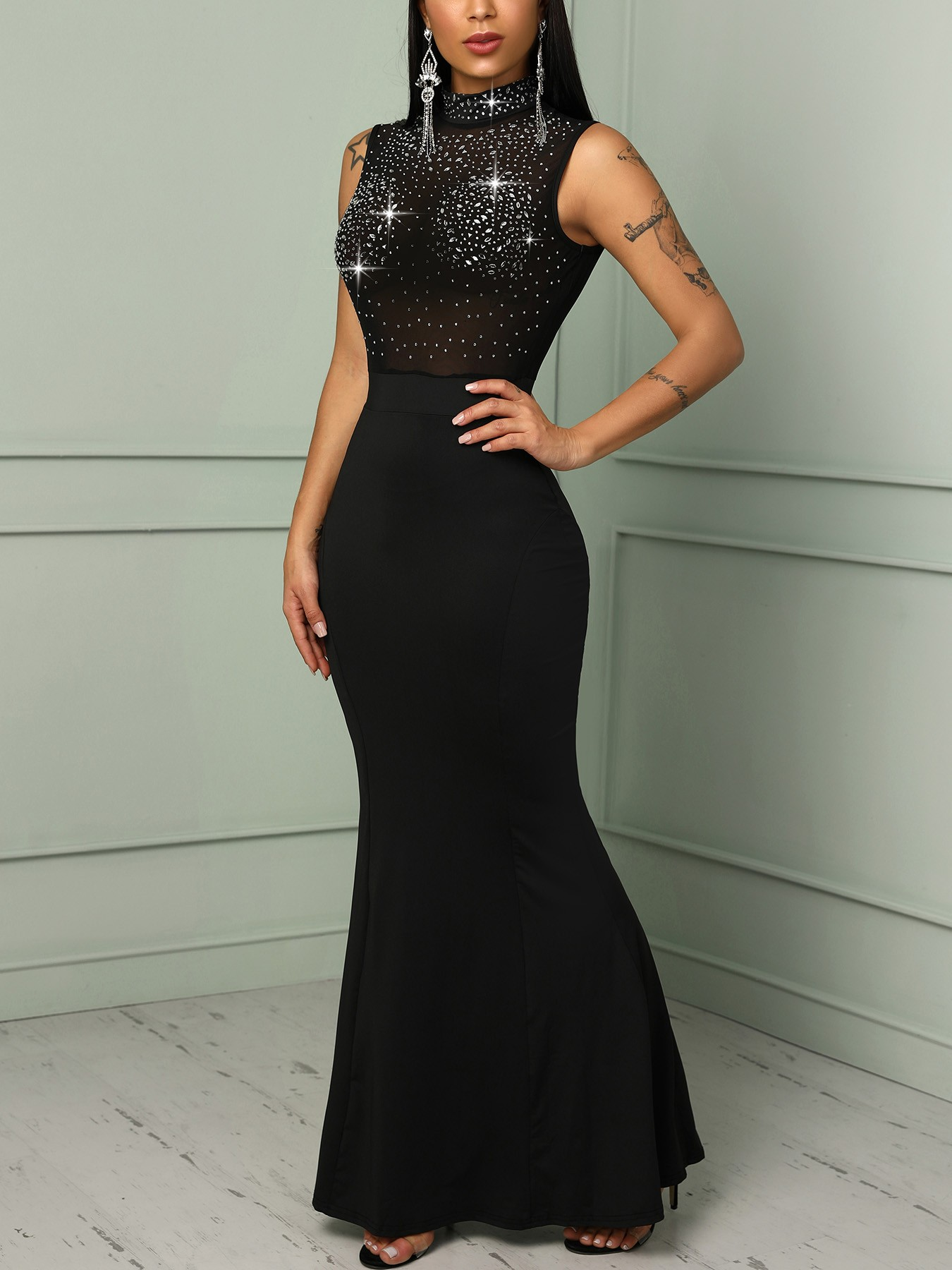 1d50fe0a7893 Mesh Splicing Hot Stamping Bodycon Evening Dress