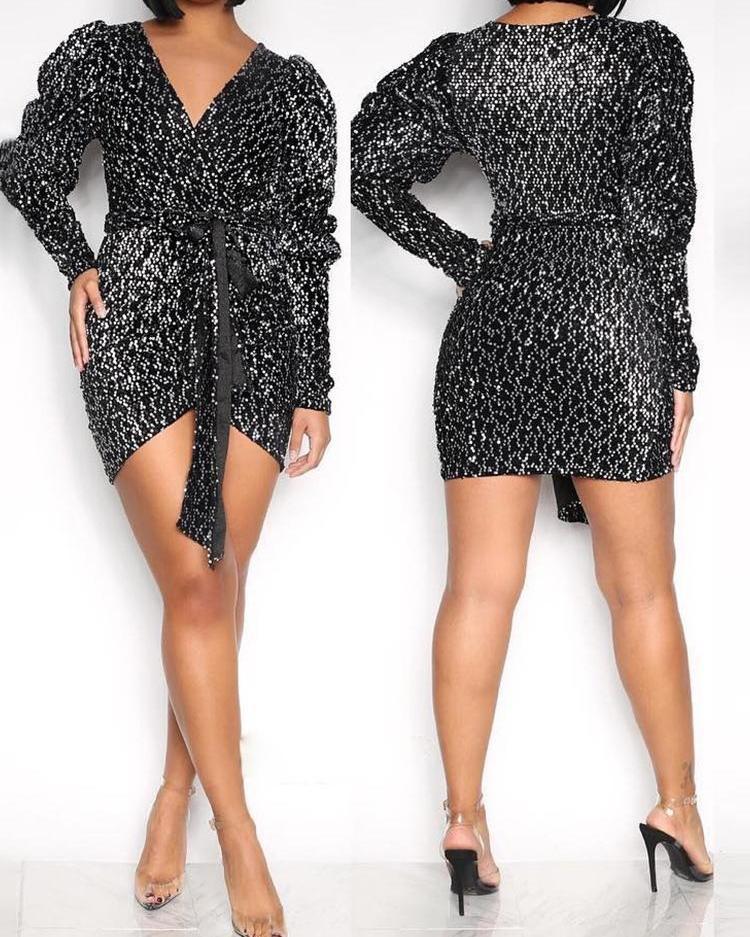 Glitter Surplice Wrap Long Sleeve Dress