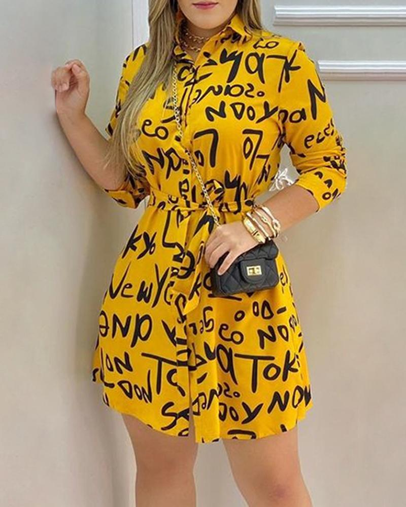 Letter Print Long Sleeve Casual Shirt Dress
