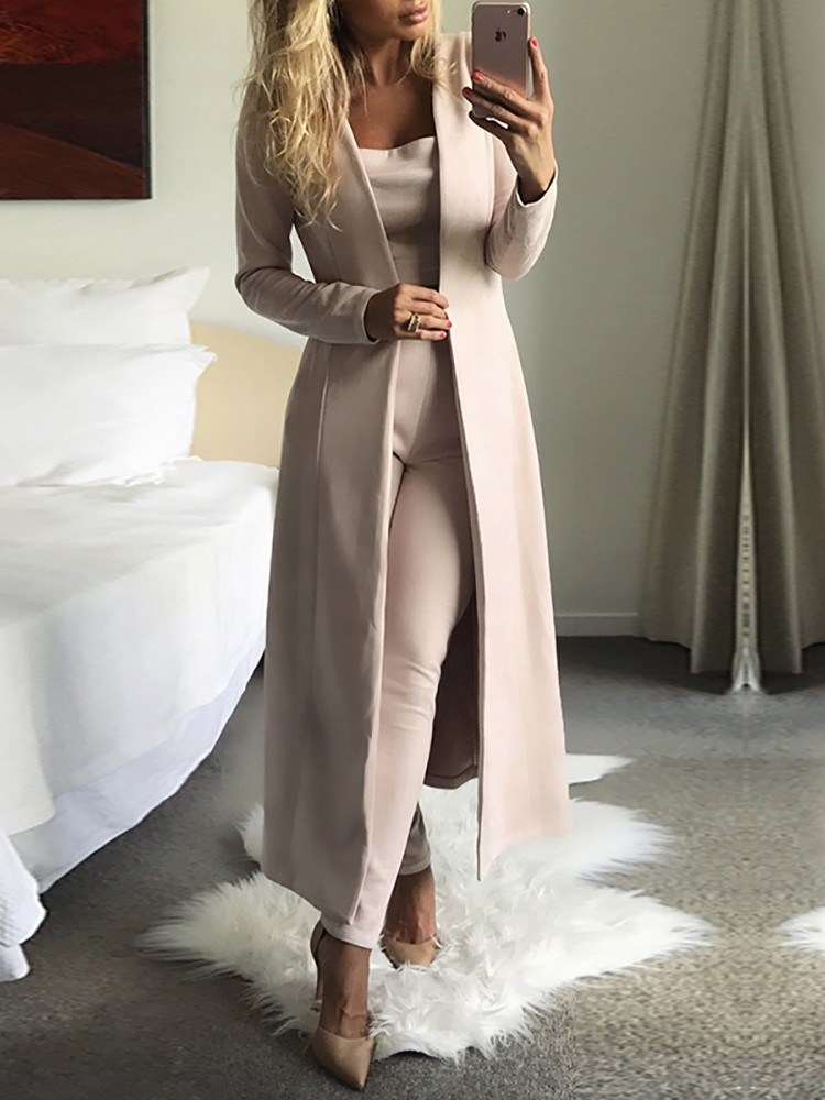 boutiquefeel / 3PCs Solid Cardigan Coat With Top and Pants