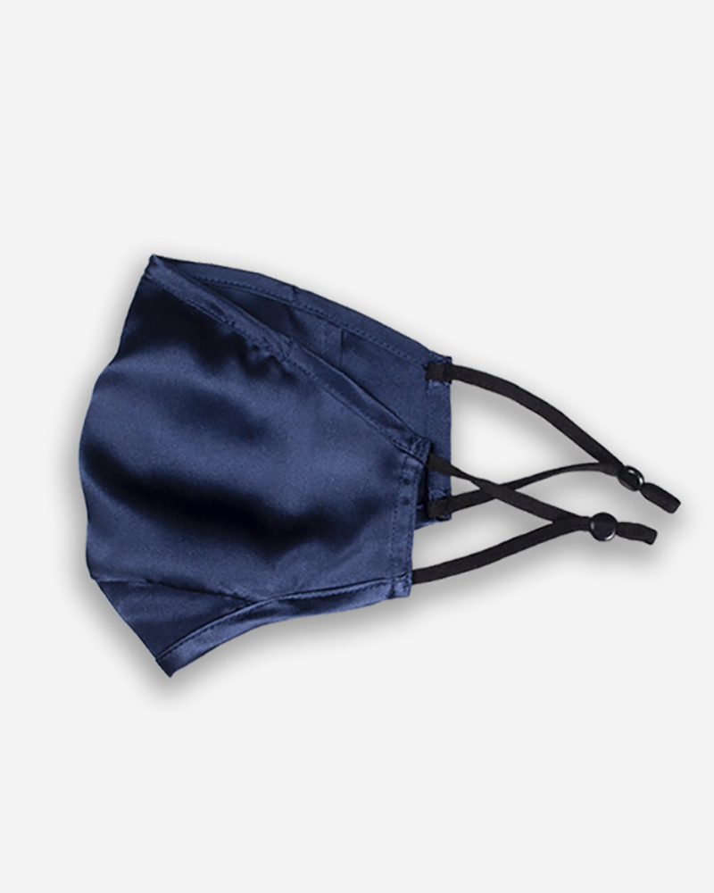 Solid Breathing Washable Silk Face Mask (1 filters as gift, Dark blue