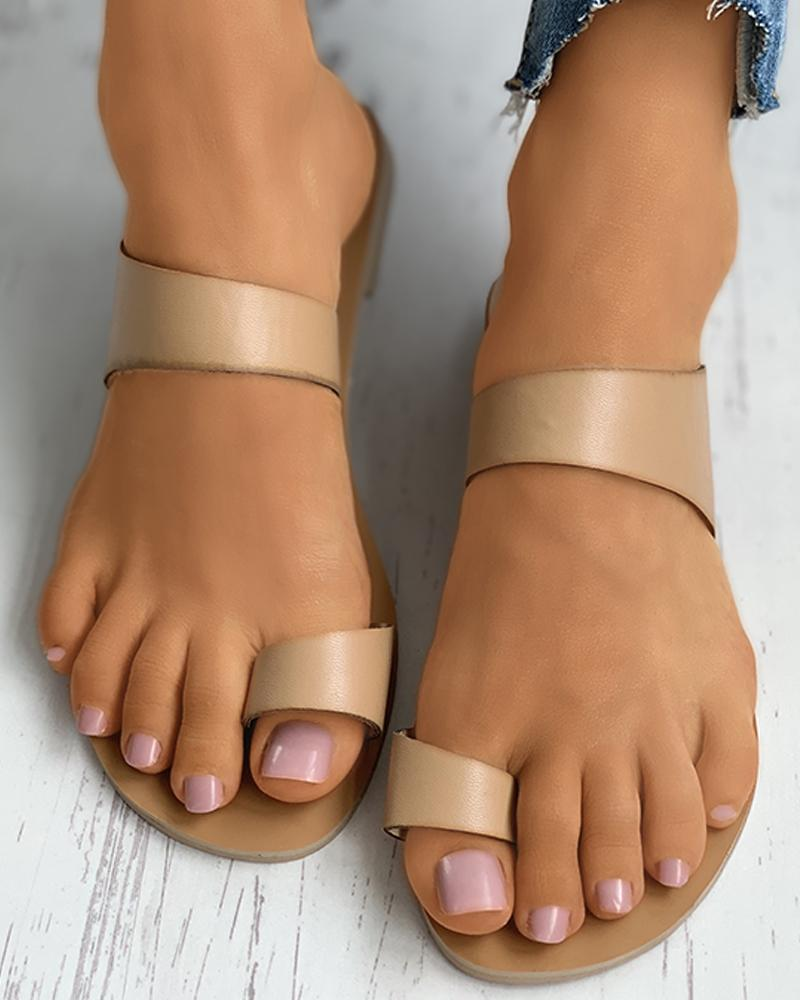 Toe Ring Flat Slider Sandals thumbnail