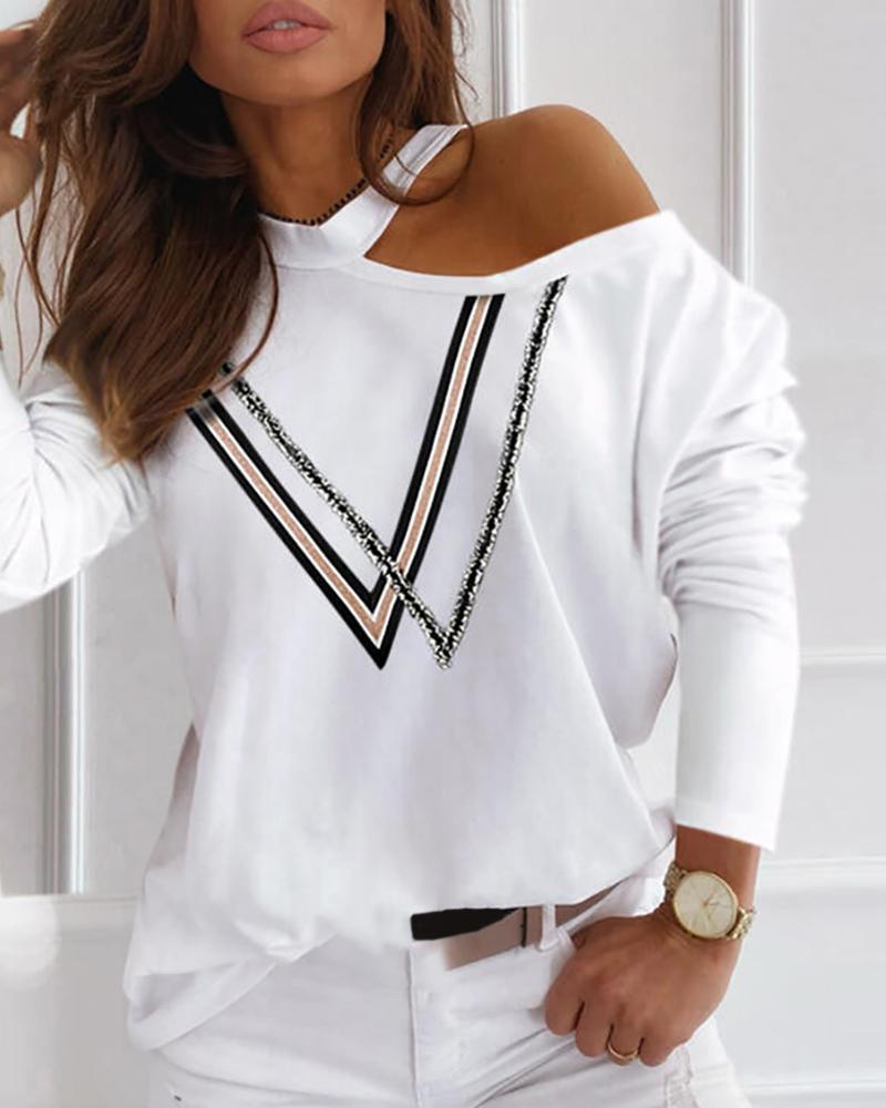 Colorblock Cold Shoulder Long Sleeve Top